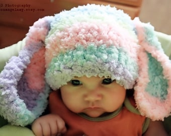 3 to 6m Baby Bunny Hat, Rainbow Baby Beanie, Crochet Bunny Ears, Baby Rainbow Hat, Rabbit Animal Hat, Infant Photo Prop, Baby Gift