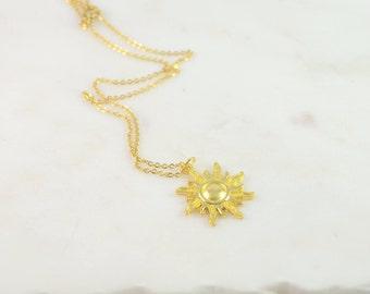 Sun Necklace, Gold Sun Necklace, Sun Jewelry, Sun Charm Necklace, Gold Sun Jewelry, Sunshine Necklace , Sunshine Jewelry, Sun Pendant