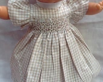dress has smocked natural gingham doll 36 cm