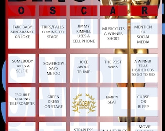 Academy Awards Oscar Bingo Cards