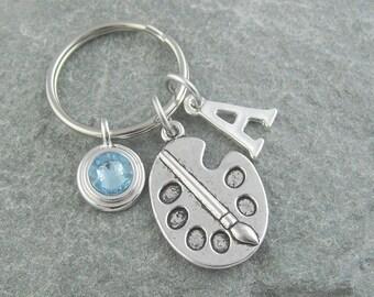 Paint palette keychain, paint keyring, artist gift, initial keychain, birthstone keychain, personalized keyring, birthstone keyring, painter