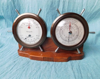 Vintage Airguide Fee and Stemwedel Nautical Thermometer and Barometer Sailing Ship Wheels