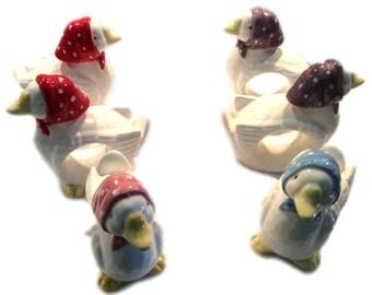 Napkin Holders, Set of 6 Vintage Porcelain Novelty Duck Napkin Rings Ducks Table Setting Gift