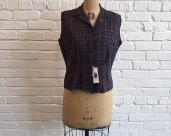 1960s Brown and Blue Plaid Sleeveless Top  // 60s Button Front Plaid Blouse Large  // Vintage 1960s Navy Brown Collared Shirt