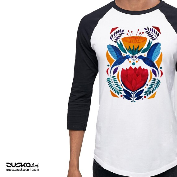 Love Birds | Unisex Raglan T-Shirt | 3/4 sleeves | Baseball shirt | Apparel for her / him | Watercolor | Hummingbirds | Ethnic | ZuskaArt