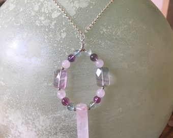 Rose Quartz Wand and Flourite Necklace on Sterling Silver Chain