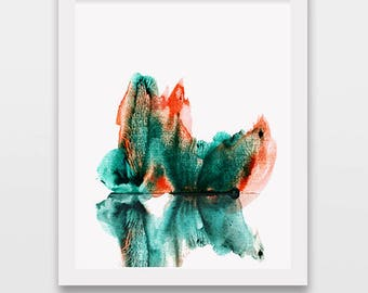 Watercolor forest print, landscape art, abstract room decor, forest painting, watercolor illustration