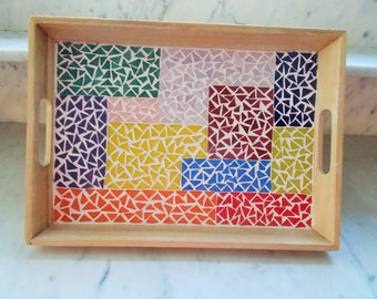 WOODEN MOSAIC TRAY