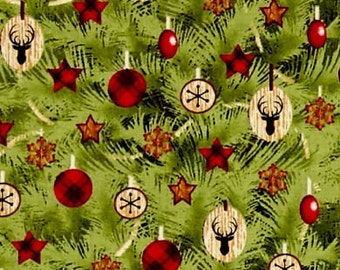 Winter's Friends Allover Tree Christmas Tree Stag Plaid Star Baubles Decorations Festive Cotton Fabric