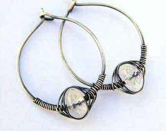 Crystal  Quartz Earrings , Sterling Silver Earrings , Rock  Crystal Quartz Hoop Earrings , Oxidized Silver , Wire Wrapped