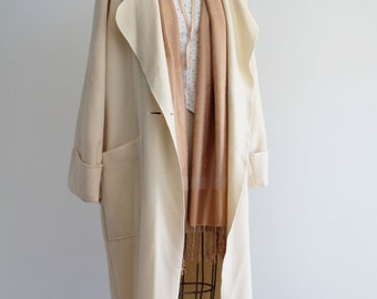 Vintage Cream Wool Relaxed Fit Coat