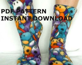 Fleece Slipper Socks Sewing Pattern - Full Size PDF Children to Adult for 2 way and 4 way stretch fabric. Instant download
