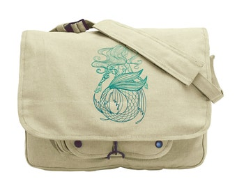 Maiden of the Ocean Embroidered Embroidered Canvas Messenger Bag