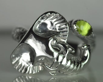 Elephant sterling silver spoon ring with gemstone