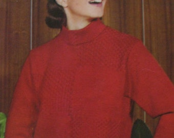 Ladies Jumper Knitting Pattern in Two Sizes 1960's Knitting Pattern Draughtboard Effect College Jumper  PDF Instant Download