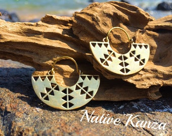 Tribal brass earrings, high quilaty brass,boho,gypsy earrings,brass jewllery, tribal jewellery