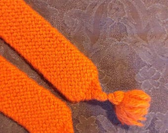 Plain knitted garters, deep orange wool, XL