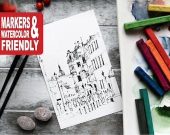 "Set of 20 Watercolor Coloring Cards, coloring pages, coloring book, gift - ""Pilies gatve, Vilnius oldtown. Vilnius"""