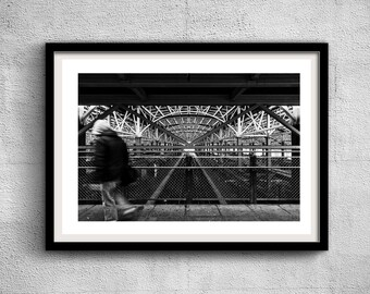 Coney Island Subway - New York Photography, Black and White, Architecture, Wall Art, NYC, Fine Art Print, Urban Art, Home Decor