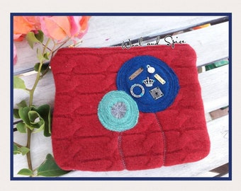Zipper Pouch, Upcycle, Felted Wool, Poppy Flowers, Lambs Wool, Handmade, Organizer, Clutch, Clothing Tags