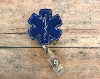 EMT Badge Reel - EMT Badge Clip - Emergency Services Badge Holder - EMT felt Badge Holder - Feltie Retractable Badge - Paramedic Badge Clip