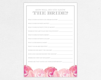 INSTANT DOWNLOAD How Well Do You Know The Bride Card for Bridal Shower (Haley) - DIY, Printable, Customizable Watercolor Flowers Design