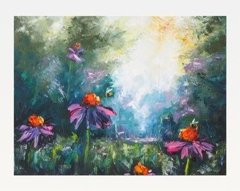 Landscape with flowers and bees - Original Oil Painting On Canvas