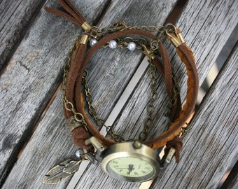 Women watches bracelet boho for wrist, wrap bracelet, brown and brown mustard suede, antique gold chain and feather charm. -MO07-