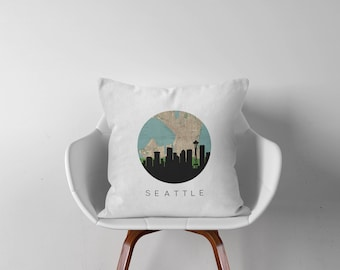 Seattle map pillow | Seattle Skyline Square Pillow | Washington pillow | Seattle home decor | throw pillow | city skyline pillow