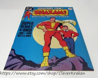 Shazam visits Portland, Oregon in 1943, vintage comic, vintage reprint Knighthood Blooms Again, DC Comics and OMSI promotion published 1989