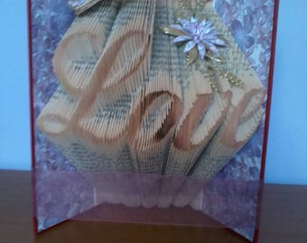 "Special gift. Pretty ""Love"" book sculpture"