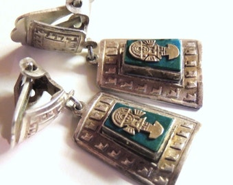 Peruvian with Inca images Silver Earrings