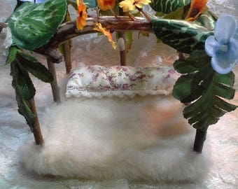 Fairy Bed, Miniature Bed,canopy bed