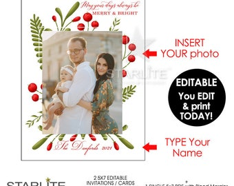 Christmas Photo Card Digital Download, Photo Holiday Card EDITABLE INSTANT DOWNLOAD, Diy Christmas Photo Card Printable Editable Pdf