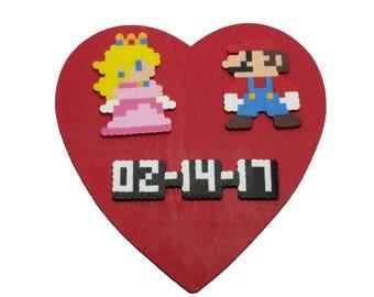 Custom Mario and Princess Peach Wooden Heart - Custom Mario and Peach Wedding Gift - Custom Mario and Peach Anniversary Gift