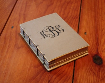 Monogrammed Journal, Create Your Own Notebook, Personalized Gift, Writing Journal, Kraft Brown Art Journal, Coptic stitch