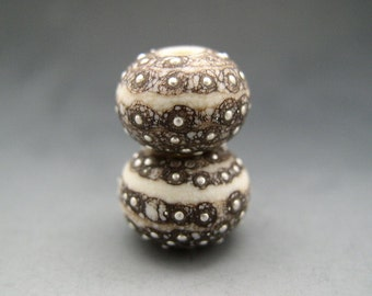Naos Glass Urchins Pair Made To Order Warm Taupe Ivory Grey Beige Fine Silver Artisan Glass Beads Handmade Lampwork Beads SRA