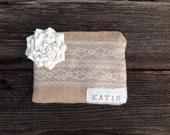 Personalized Clutch, Personalized Bridesmaid Gifts, Bridesmaid Clutch, Bridal Party Gifts, Maid of Honor Gift, Burlap and Lace Bag, Cosmetic
