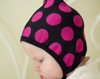 Sweater knit pixie hat, baby girl hat, hearing aid hat, Emmifaye hat, hat with ties, toddler hat, fall hat, baby gift, pink polka dot hat