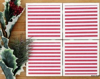 Striped Coasters - Coaster - Tile Coaster - Coasters for Drinks - Coasters Tile - Red Coasters - Handmade Coasters - Coasters