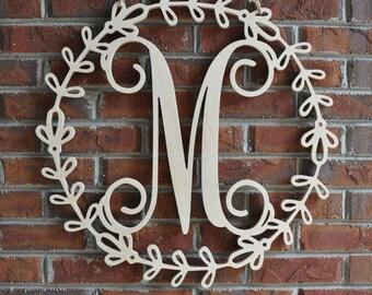 Wreath Monogram Door Sign   Monogram Door Hanger   Monogram Wall Hanging    Wooden Initial   Wooden Letters