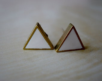 ivory small brass triangle stud earrings