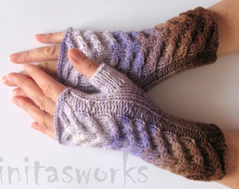 Fingerless Gloves Brown Beige Violet Purple Arm Warmers Knit Soft
