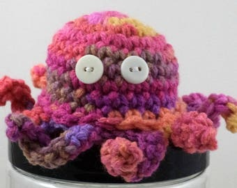 Crocheted Pinks and Purples Octopus Plush with Button Eyes