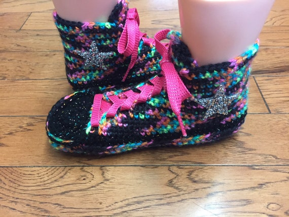slippers Crocheted inspired 9 301 slippers converse List shoe rainbow converse converse sneaker Womens slippers high tennis rainbow 7 top HzHqr
