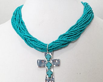 Turquoise Multi Strand Beaded Necklace with Silver Cross / Silver Cross Beaded Multi Strand Turquoise Necklace.