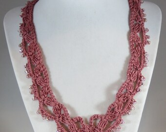 Rose crochet necklace with seed bead accents