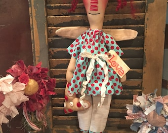 Primitive Angel Heart Doll Made to Order