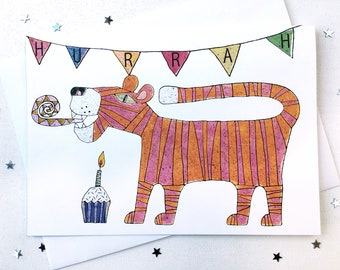 Girl's Birthday Card /  Boy's Birthday Card / Party Tiger / Cup Cake / Greetings Card / Card Blank inside