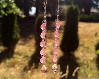 Czech Glass Earrings: Pink Glass Teardrop Earrings